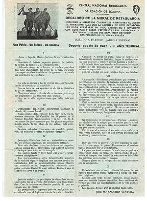 DECÁLOGO DE LA MORAL DE RETAGUARDIA. CENTRAL NACIONAL SINDICALISTA. Delegación de ...
