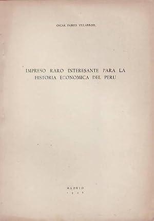 IMPRESO RARO INTERESANTE PARA LA HISTORIA ECONÓMICA: Fabres Villarroel. Oscar