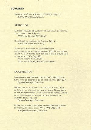ESTUDIOS SEGOVIANOS. Tomo XLVII, Nº 104: AA.VV