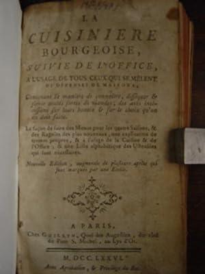 LA CUISINIERE BOURGEOISE, SUIVIE DE L'OFFICE A: Menon