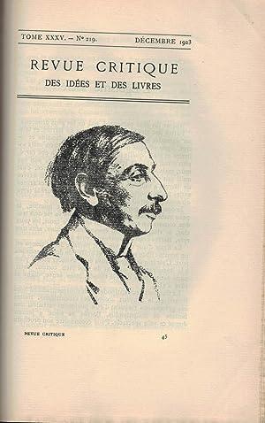LA REVUE CRITIQUE DES IDÉES ET DES LIVRES. 1923.: Rivain, Jean.