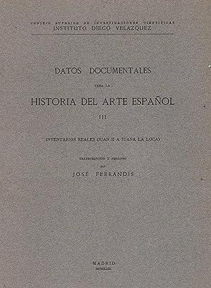 DATOS DOCUMENTALES PARA LA HISTORIA DEL ARTE: AA.VV.