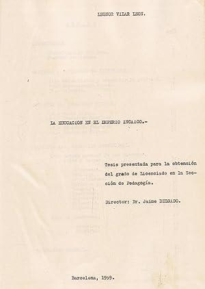 LA EDUCACIÓN EN EL IMPERIO INCAICO: Vilar León. Leonor