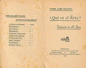 QUÉ ES EL ARTE?.: Tolstoy. Conde León,