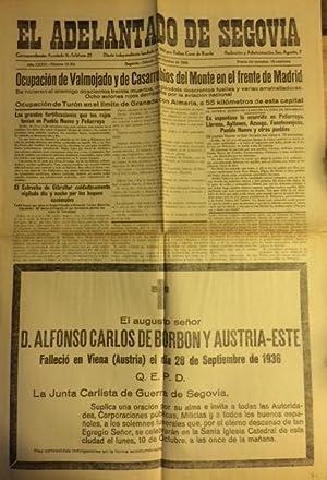 EL ADELANTADO DE SEGOVIA. año XXXVI, Núm. 10.206. sábado 17 de octubre de 1936.: Periodico