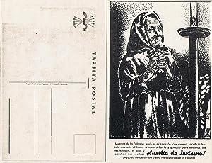 AUXILIO DE INVIERNO ¡AYUDAD DESDE ARRIBA A ESTA HERMANDAD DE LA FALANGE!. Tarjeta postal.: ...