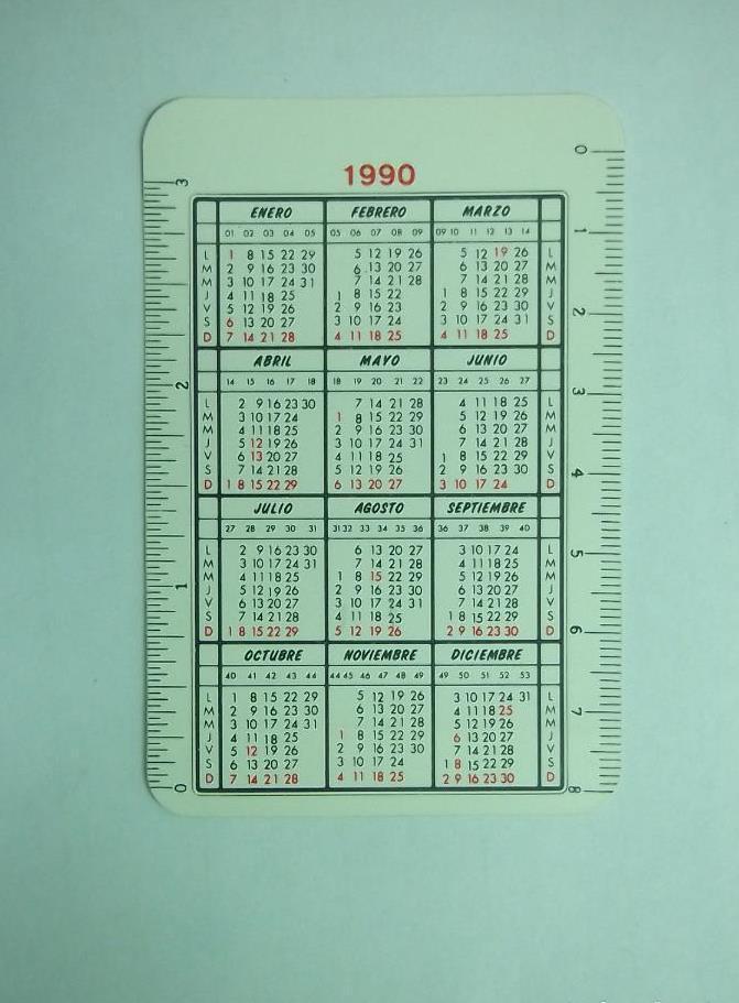 1990 Calendario.Calendario De Bolsillo Sindicato Unificado