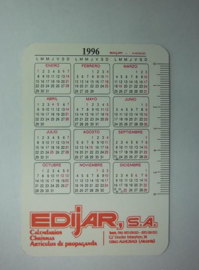 Calendario 1996.Calendario De Bolsillo Edijar S A 1996