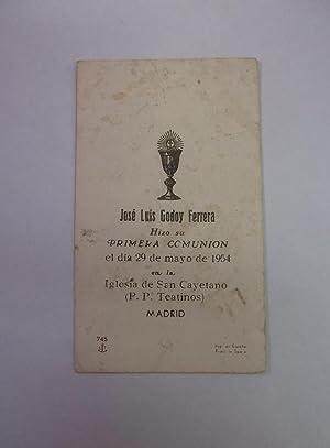 1cae386b90 ESTAMPA RECORDATORIO PRIMERA COMUNION IGLESIA SAN CAYETANO MADRID 29 MAYO DE  1954. TDKP12