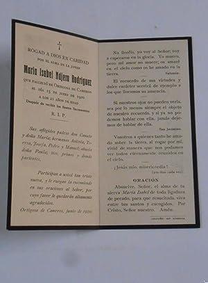 c6f895755c ESTAMPA RECORDATORIO DE DEFUNCION ORTIGOSA DE CAMEROS LA RIOJA. 15 DE JUNIO  DE 1920.