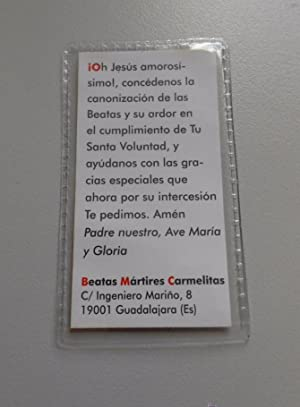 043effc1a8 ESTAMPA RECORDATORIO RELIQUIA BEATAS MARTIRES CARMELITAS PILAR TERESA  ANGELES. VIVA CRISTO REY TDKP6