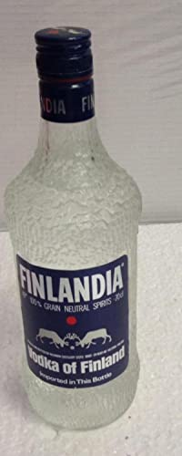 BOTELLA ANTIGUA VODKA OF FINLAND FINLANDIA 45º, 75 CL - GRAIN NEUTRAL SPIRITS AÑOS 70 IMPORTACI