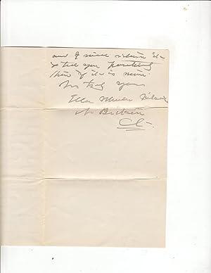 Personal Letter: Ella Wheeler Wilcox