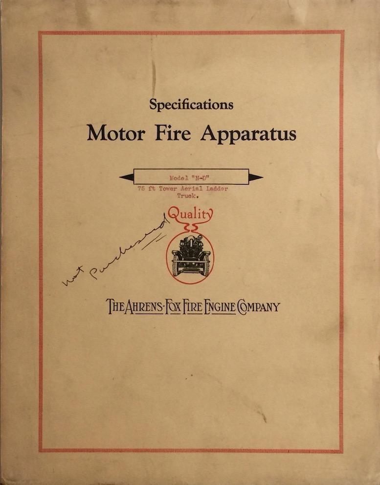 specifications motor fire apparatus: model