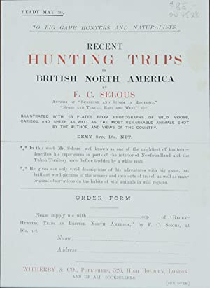 Original Prospectus for Recent Hunting Trips in British North America