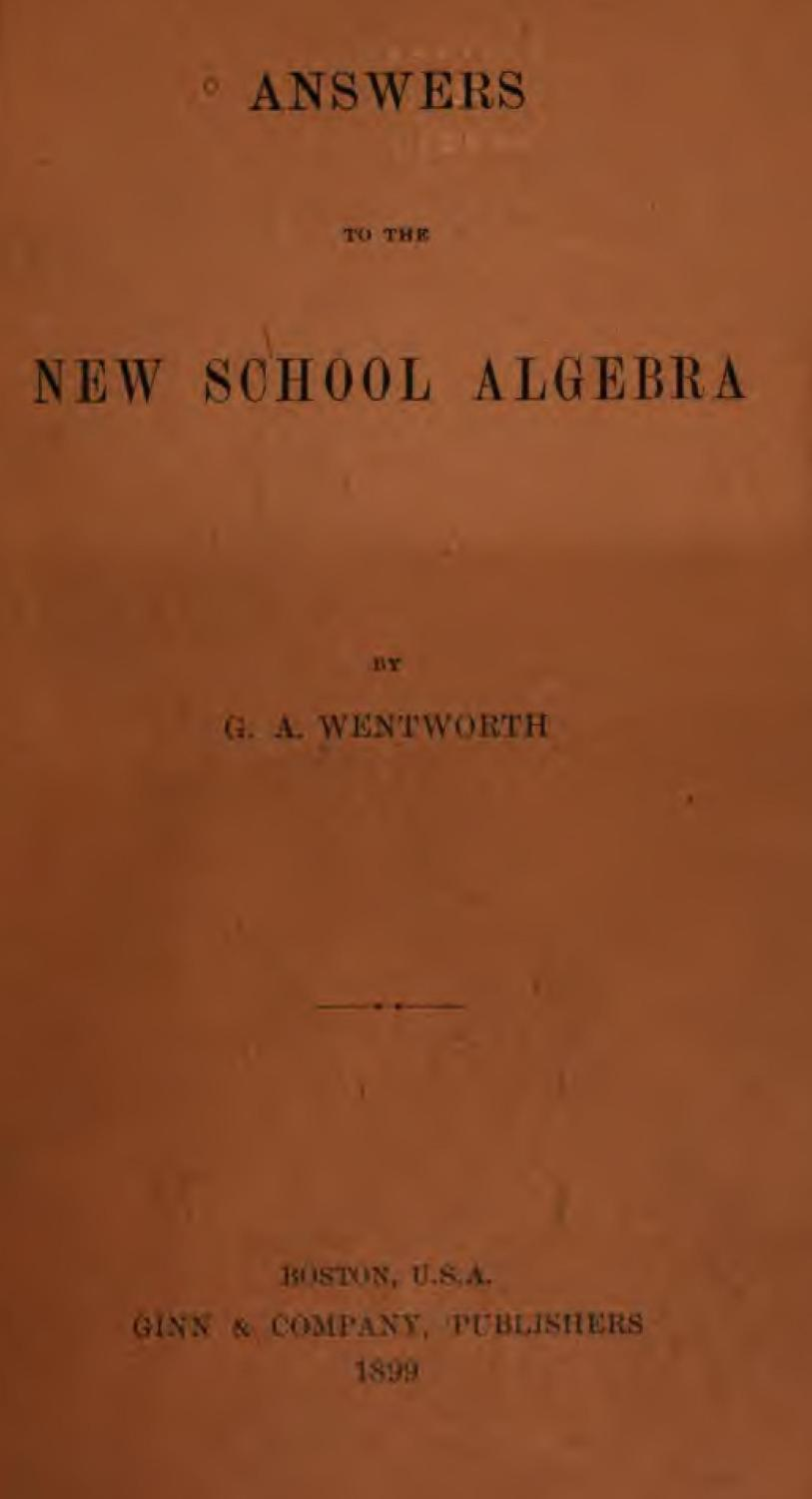 Answers School Algebra - AbeBooks
