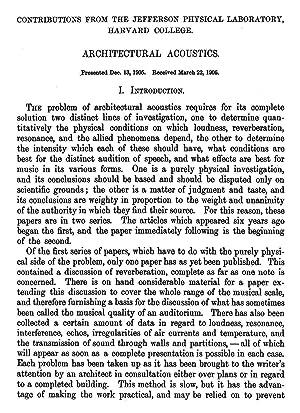 Architectural Acoustics [Reprint] Volume: 42 (1906): Sabine, Wallace C.
