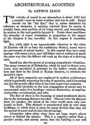 Architectural Acoustics [Reprint] Volume: 7 (1921): Elson, Arthur