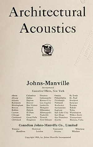 Architectural acoustics [Reprint] (1921): Swan, Clifford Melville,Johns-Manville