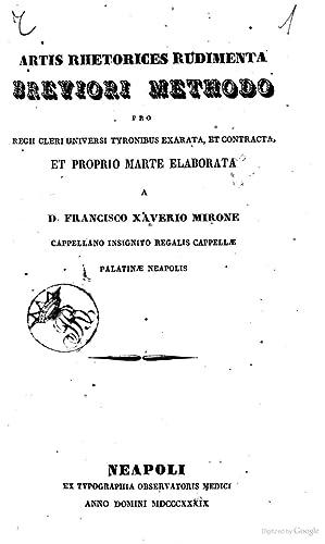 Artis rhetorices rudimenta breviori methodo . elaborata