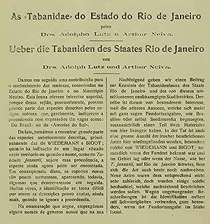 As «Tabanidae» do Estado do Rio de: Adolpho Lutz,Arthur Neiva