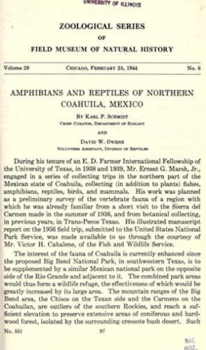 Amphibians and reptiles of Northern Coahuila, Mexico: Schmidt, Karl Patterson,