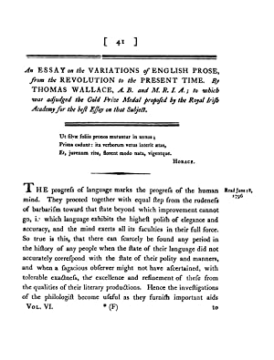 An Essay on the Variations of English: Wallace, Thomas