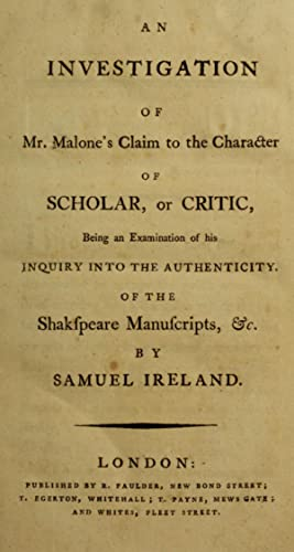 An investigation of Mr. Malone's claim to: Ireland, W. H.