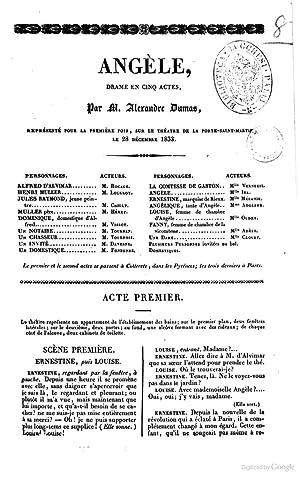Angele drame en cinq actes par MM.: Alexandre père Dumas