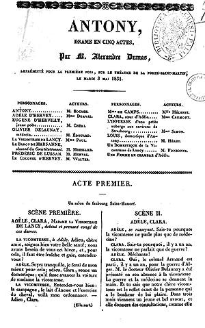 Antony drame en cinq actes par M.: Alexandre père Dumas