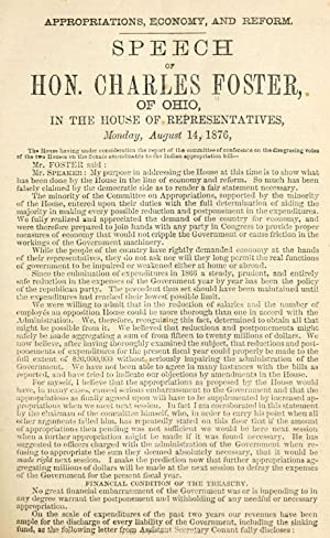 Appropriations, economy, and reform. Speech of Hon.: Foster, Charles, 1828-1904