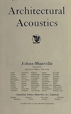 Architectural acoustics [Reprint]: Swan, Clifford Melville],Johns-Manville,