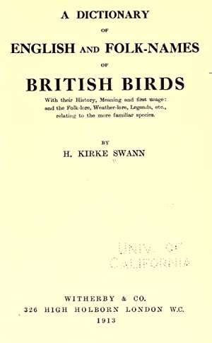 A dictionary of English and folk-names of: Swann, H. Kirke