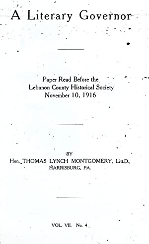A literary governor : paper read before: Montgomery, Thomas Lynch,