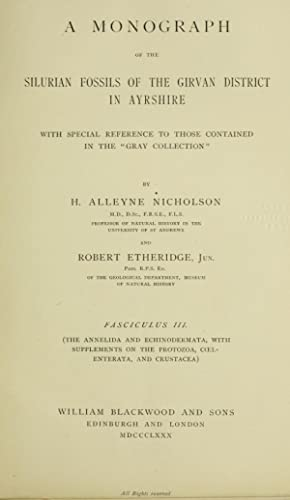 A monograph of the Silurian fossils of: Nicholson, Henry Alleyne,
