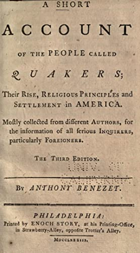 A short account of the people called: Benezet, Anthony, 1713-1784