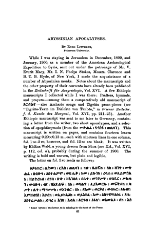 Abyssinian Apocalypses (1903) (Volume: 19) [Reprint]: Littmann, Enno
