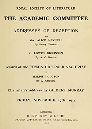 Addresses of reception : to Mrs. Alice: Royal Society of