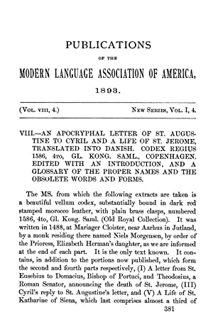 An Apocryphal Letter of St. Augustine to: Dodge, Daniel Kilham