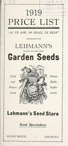 1919 price list / Lehmann's Seed Store.: Lehmann's Seed Store,Henry