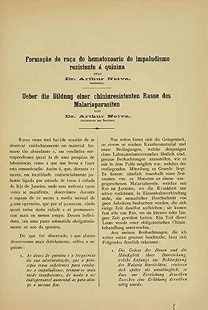 Formação de raça do hematozoario do impaludismo: Arthur Neiva