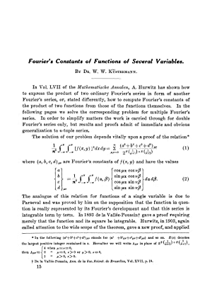 Fourier's Constants of Functions of Several Variables: Küstermann, W. W.