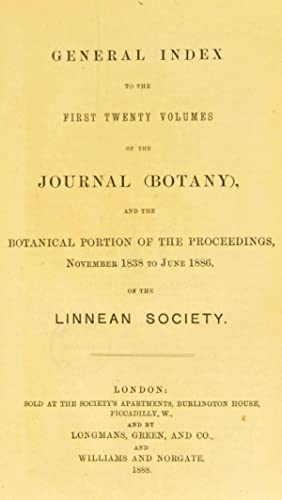 General index to the first twenty volumes: Linnean Society of