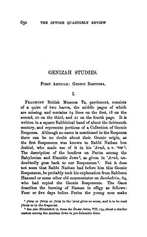 Genizah Studies. First Article: Geonic Responsa (1904): Ginzberg, Louis