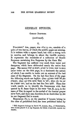 Genizah Studies. Geonic Responsa (Continued) (1905) (Volume: Ginzberg, Louis