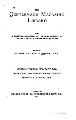 Gentleman's Magazine Library [Reprint]: George Laurence Gomme