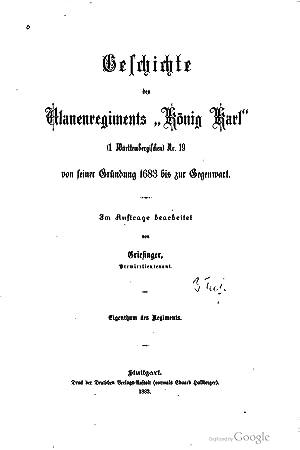 """Geschichte des Ulanenregiments """"Konig Karl"""": (1. wurttembergischen): Theodor Griesinger"""