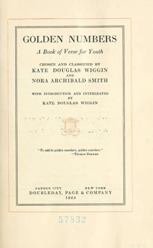 Golden numbers : a book of verse: Wiggin, Kate Douglas