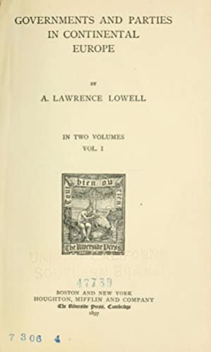 Governments and parties in continental Europe (Volume: Lowell, A. Lawrence
