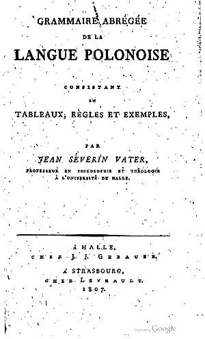 Grammaire abrégée de la langue polonaise [Reprint]: Johann-Sévérin Vater